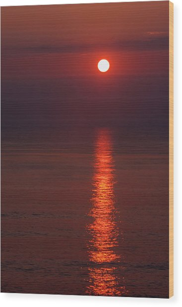 Orange Sunrise Wood Print