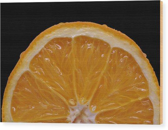 Orange Sunrise On Black Wood Print