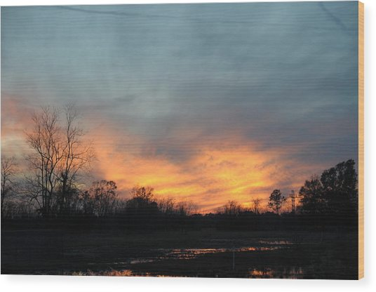 Orange Sunset Wood Print by Bill Perry