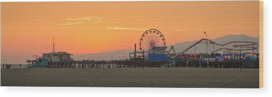 Orange Sunset - Panorama Wood Print