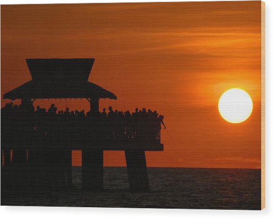 Orange Sunset In Naples Wood Print