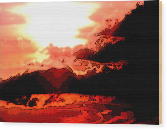 Orange Sunset Wood Print by Kimberly Camacho