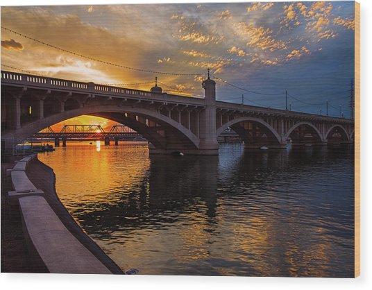 Orange Sunset Over Tempe Town Lake Wood Print