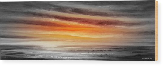Orange Sunset - Panoramic Wood Print