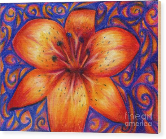 Orange Tiger Lily Drawing Wood Print