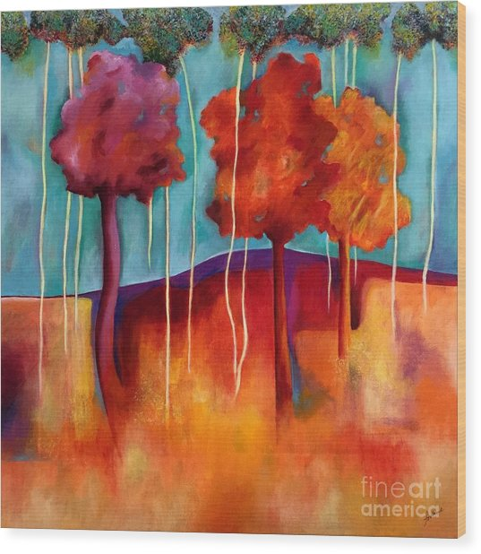 Orange Trees Wood Print