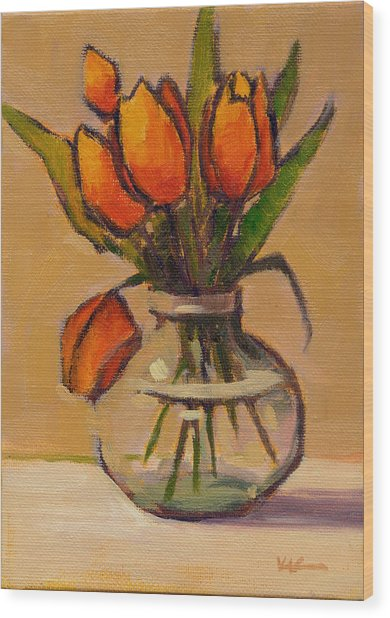 Wood Print featuring the painting Orange Tulips by Konnie Kim