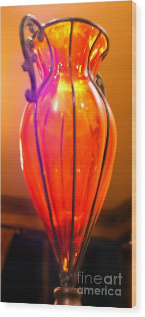 Orange Vase Wood Print by Heather S Huston