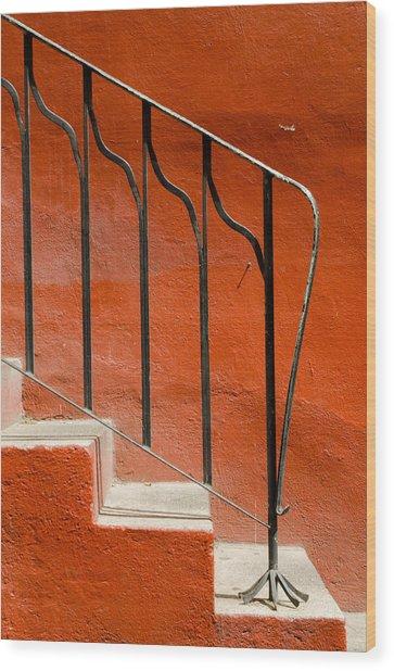Orange Wall And Steps. Wood Print