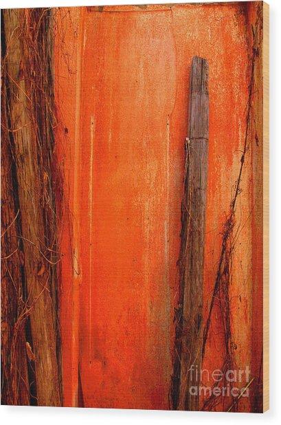 Orange Wall, Vertical Wood Print