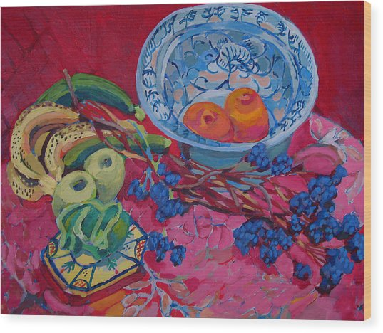Oranges And Chinese Bowl Wood Print by Doris  Lane Grey