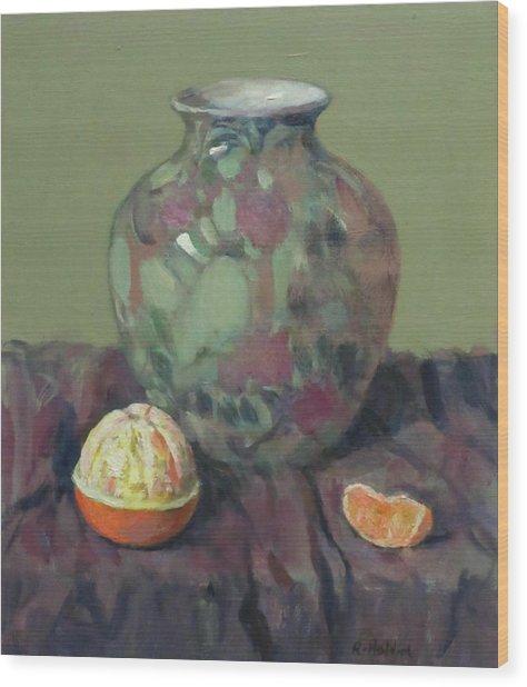 Oranges And Floral Porcelain Vase Wood Print
