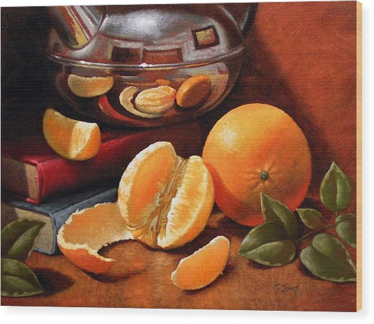 Oranges And Teapot Wood Print by Timothy Jones