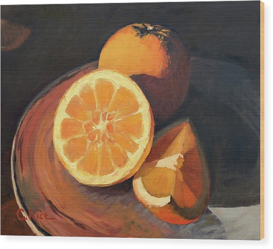 Oranges In Late Afternoon Sunlight Wood Print