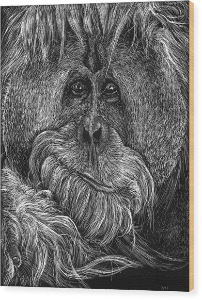 Orangitan Wood Print