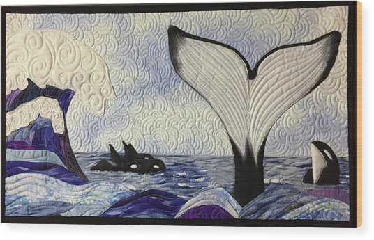 Orcas At Play Wood Print