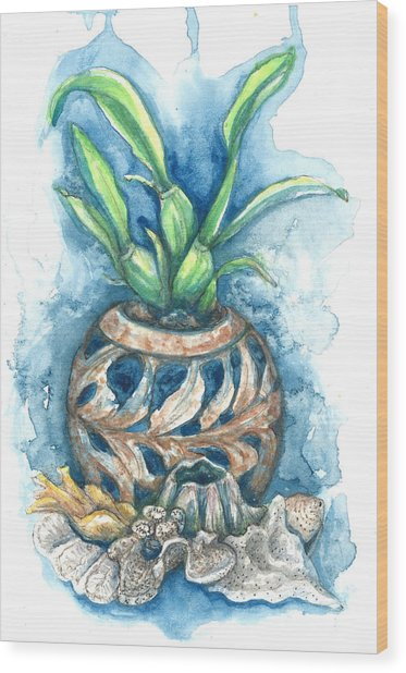 Orchid And Barnacle Wood Print