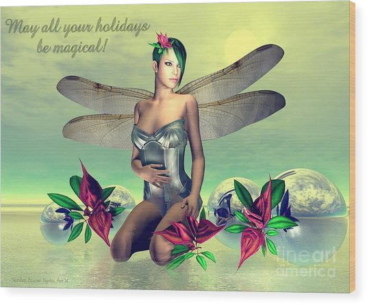 Wood Print featuring the digital art Orchid Faerie Holiday Card by Sandra Bauser Digital Art