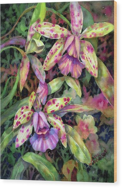 Orchid Garden I Wood Print