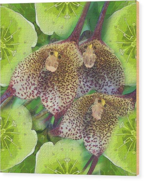 Orchid Monkeys Wood Print