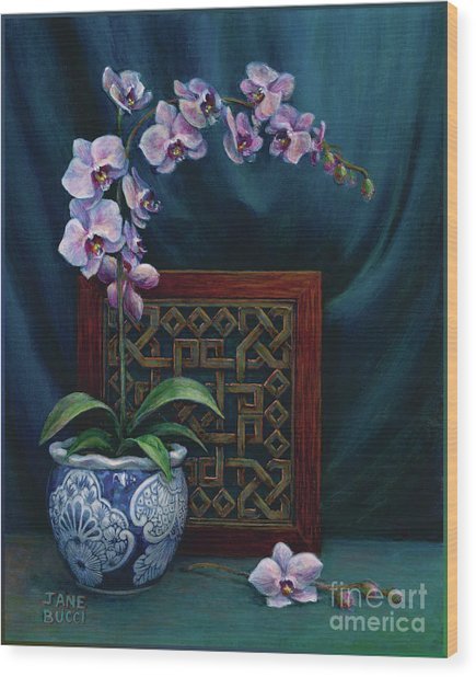 Orchids In A Chinese Pot Wood Print