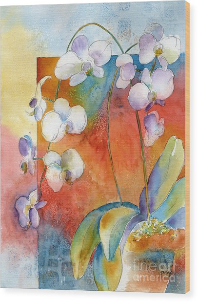 Orchids In Bend Wood Print