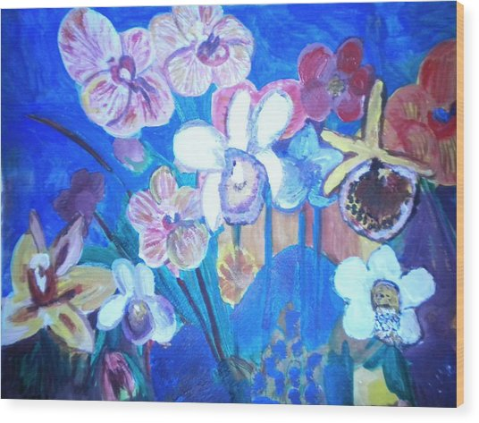Orchids In My Dream Wood Print