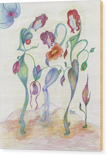 Orchids Wood Print by Mila Ryk