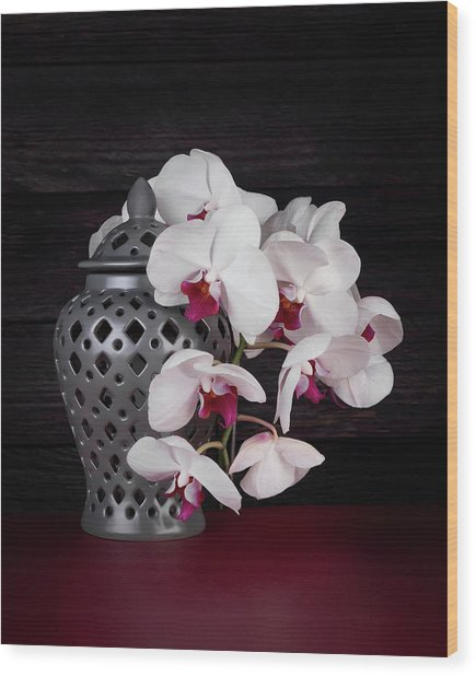 Orchids With Gray Ginger Jar Wood Print
