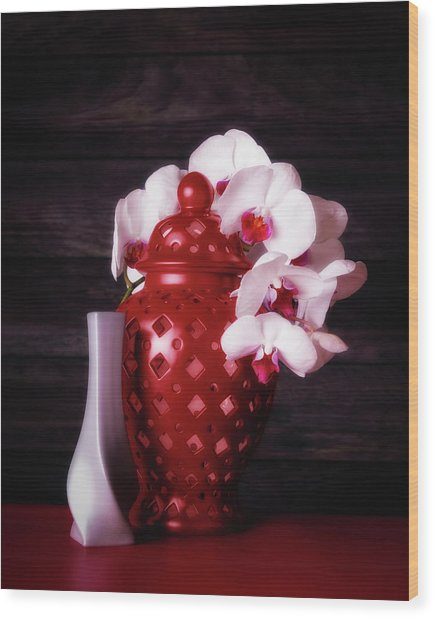 Orchids With Red And Gray Wood Print