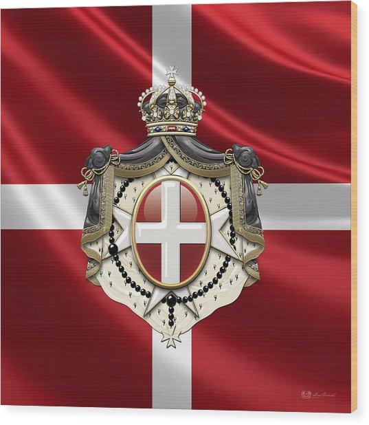 Order Of Malta Coat Of Arms Over Flag Wood Print