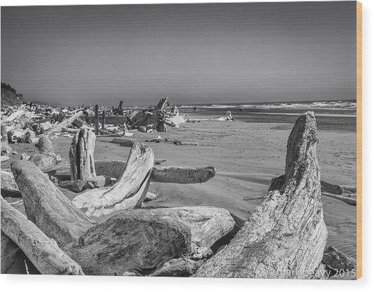 Oregon Beach Driftwood Wood Print