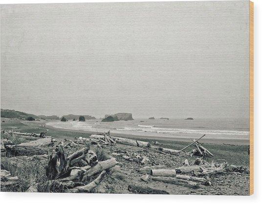 Oregon Beach With Driftwood Wood Print