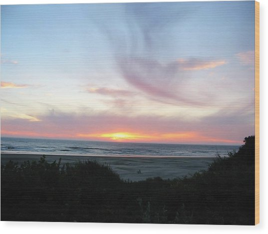 Oregon Coast Sunset Wood Print by Mirinda Kossoff