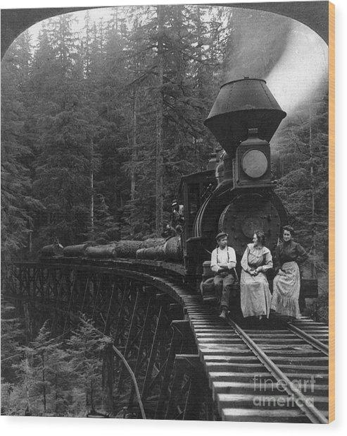 Oregon: Logging Train Wood Print