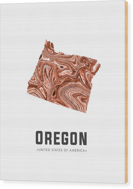 Oregon Map Art Abstract In Brown Wood Print