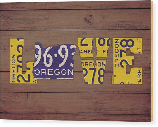 Oregon State Love Heart License Plates Art Phrase Wood Print