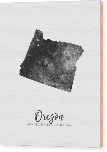 Oregon State Map Art - Grunge Silhouette Wood Print