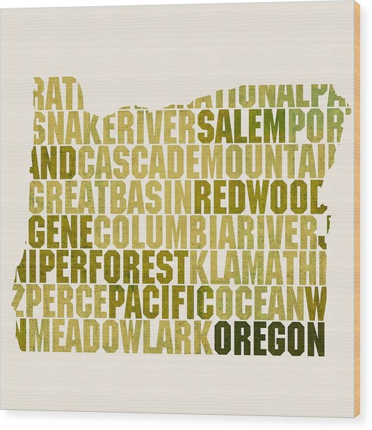 Oregon State Outline Word Map Wood Print