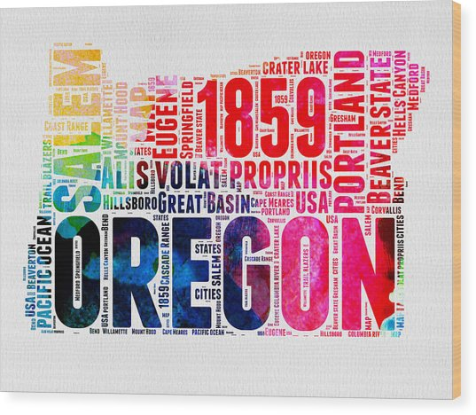 Oregon Watercolor Word Cloud Wood Print