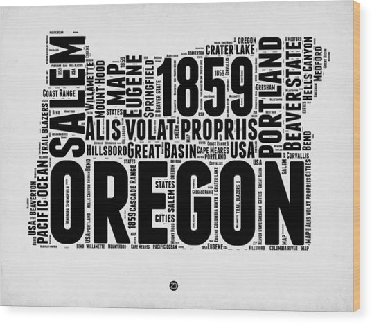 Oregon Word Cloud 1 Wood Print