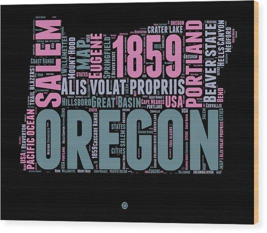 Oregon Word Cloud 2 Wood Print
