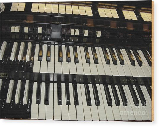 Hammond Organ Keys Wood Print