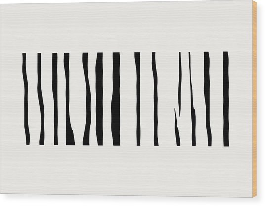 Organic No 12 Black And White Line Abstract Wood Print