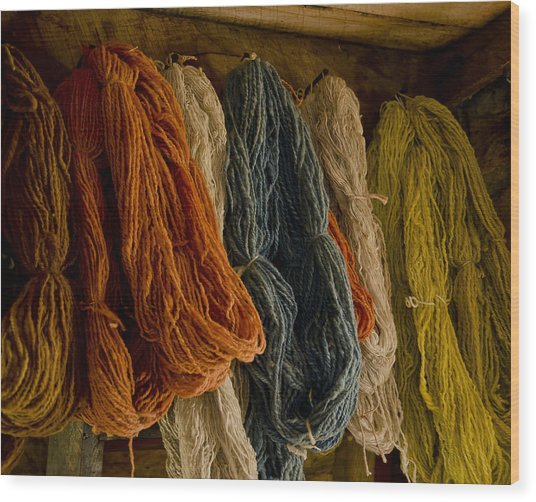Organic Yarn And Natural Dyes Wood Print