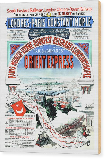 Orient Express Railway Route, Travel Poster Wood Print