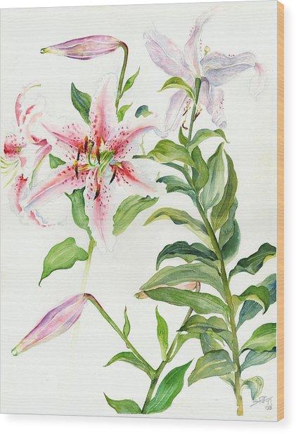 Oriental Lily Mona Lisa Liliaceae Wood Print