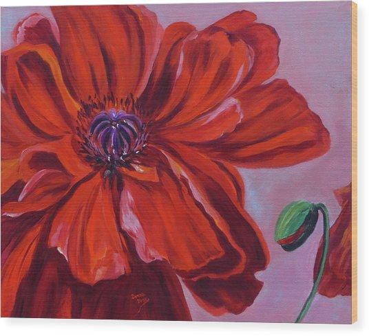 Oriental Poppy With Bud Wood Print