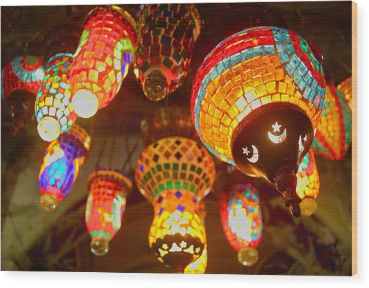 Oriental Traditional Lamps And Lanterns In The Grand Bazar Kapal Wood Print