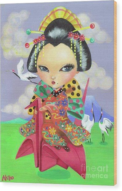 Origami Girl Wood Print